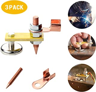 3 Pack Magnetic Welding Ground Clamp,New Welding Magnet Head, Magnetic Welding Support,Strong Magnetism Large Suction,Copper Tail Welding Stability Clamps