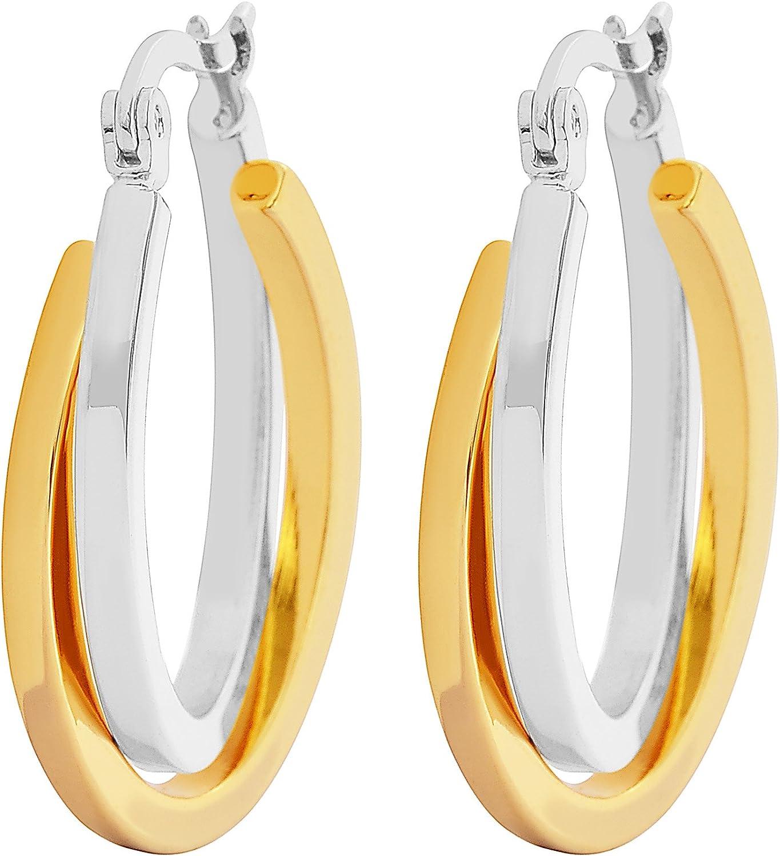 Edforce Women's Stainless Steel Overlapping Oval Hoop Earrings, (30mm)
