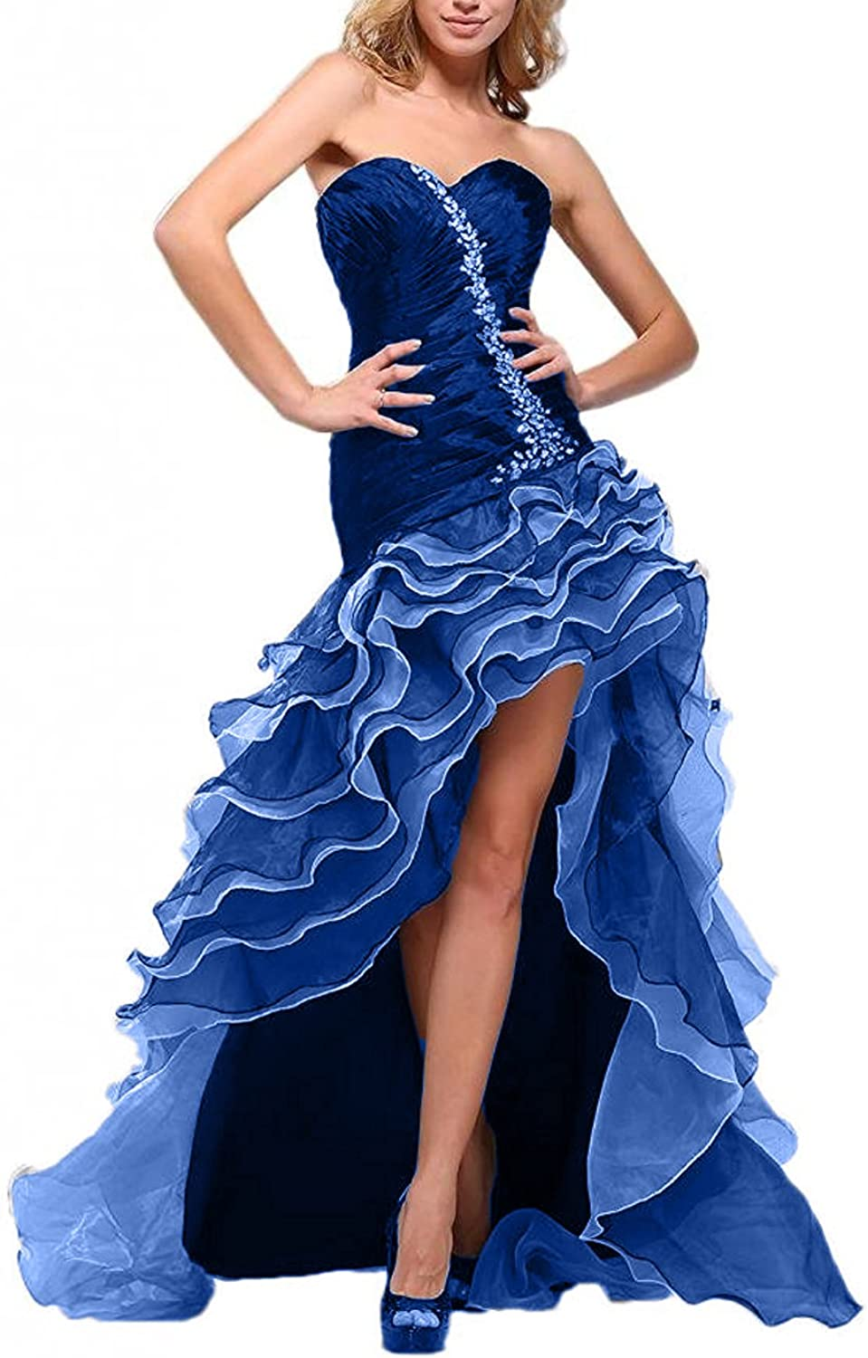 Beilite Sweetheart Crystals Prom Dress HiLo Organza Party Gown