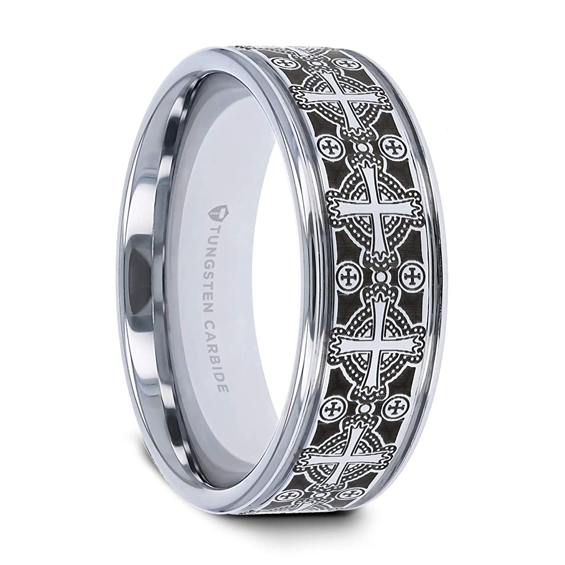 Thorsten Deacon   Tungsten Rings for Men   Tungsten   Comfort Fit   Flat Grooved Wedding Ring Band with Engraved Intricate Cross Pattern - 8mm