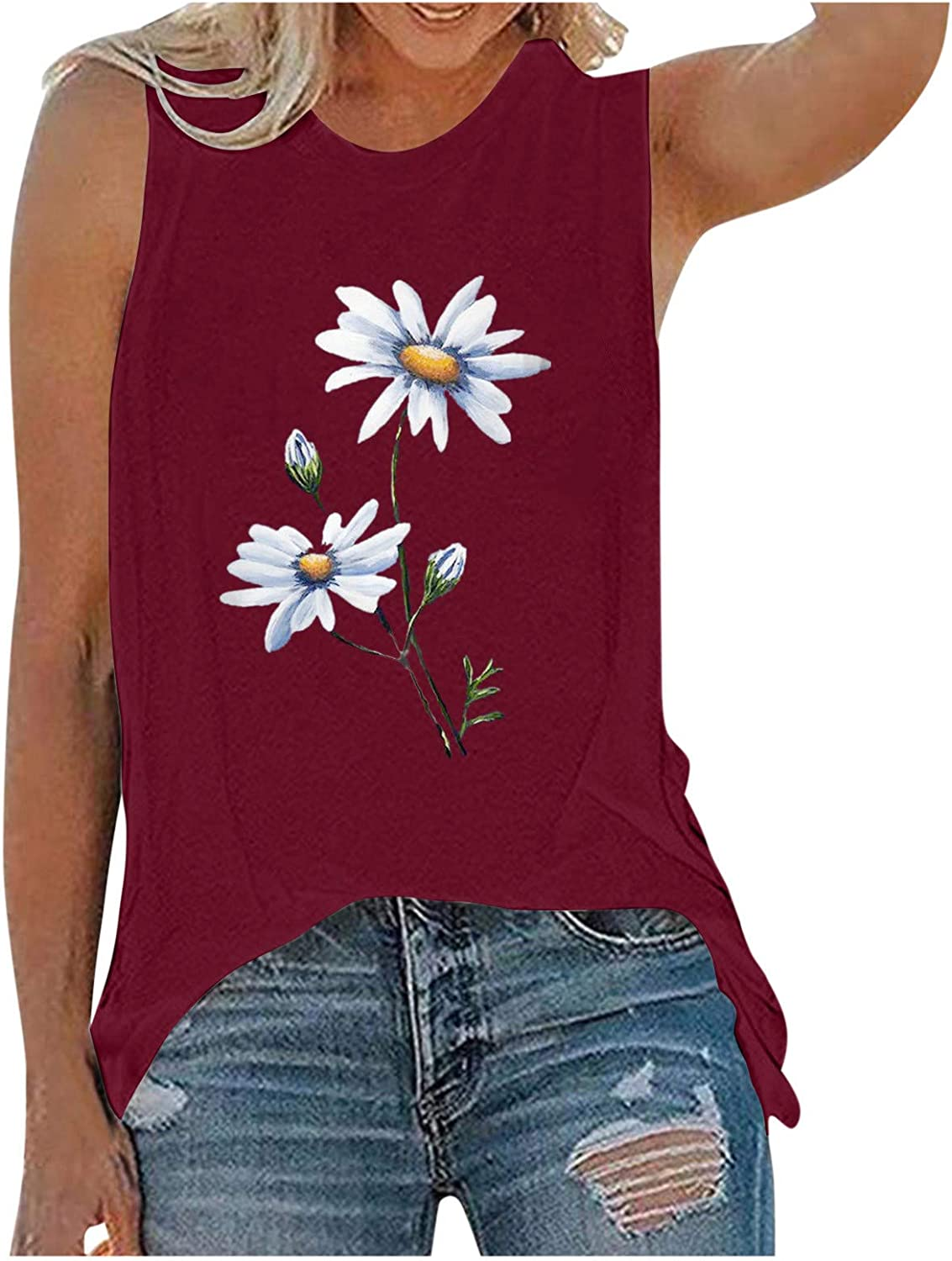 AODONG Tank Tops for Women Casual Summer Plus Size Womens V Neck Camisole Leaf Print Tanks Tops and Blouse S-XXL Red