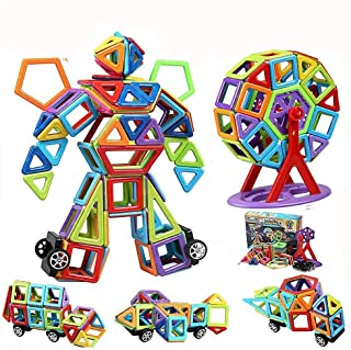 infinitoo Magnetic Building Blocks, 109 Piece Magnetic Shapes, ABS Safety Plastic, Instruction Booklet Included, Construct...
