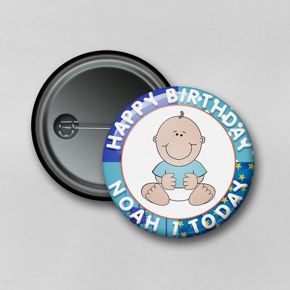 Dalton Designs UK Ltd Personalised 1st Birthday Boy High Resolution Safety Pin Badge - Size: 5.8cm