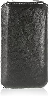 MediaDevil Apple iPhone 4/4S Leather Case (Black with White stitching) - Artisanpouch Genuine European Leather Pouch Case with Pull-Tab