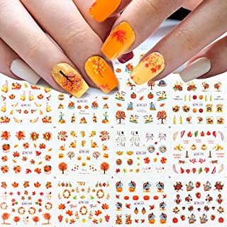 Fall Nail Art Stickers, Autumn Leaves Nail Decals Water Transfer Thanksgiving Nail Stickers Maple Leaf Pumpkin Turkey Yell...