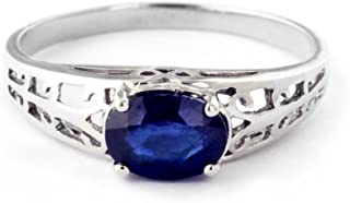 14k Solid White Gold Filigree Ring with 1.15 Carat Natural Blue Sapphire