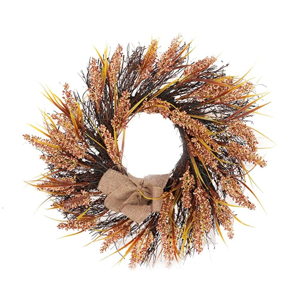 悔い改める解説くさびViugreum クリスマス 花輪 リース 感謝祭 飾り物 小麦 手作り 花飾り 壁掛け ガーランド 玄関 ドア 飾り 高級感 北欧風 パーティー 装飾 クリスマスリース ドアリース 壁飾り 小道具 アクセサリー