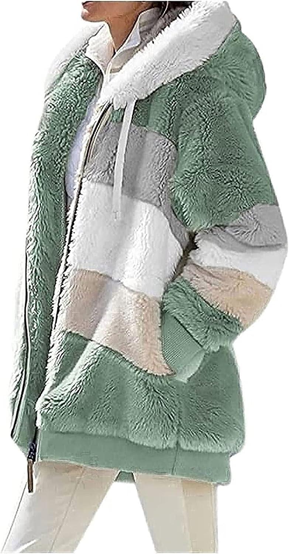 BaoRong SHOP Women's Faux Fur Coat Fuzzy Lovely Jacket with Hood