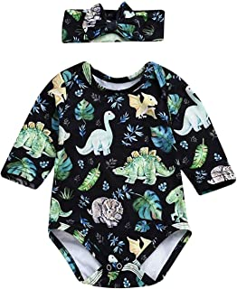 Infant Baby Girl Dinosaur Plant Romper Long Sleeve Cartoon Print Onesies with Headband 2Pcs Outfits Clothes