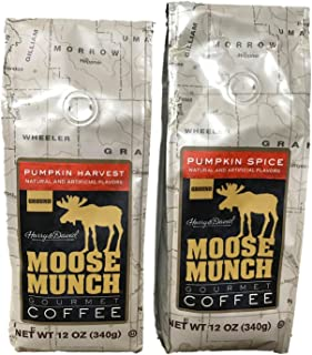 Harry & David Moose Munch Ground Coffee Bundle (2 Bags) (Pumpkin Harvest (12 oz) - Pumpkin Spice (12 oz))