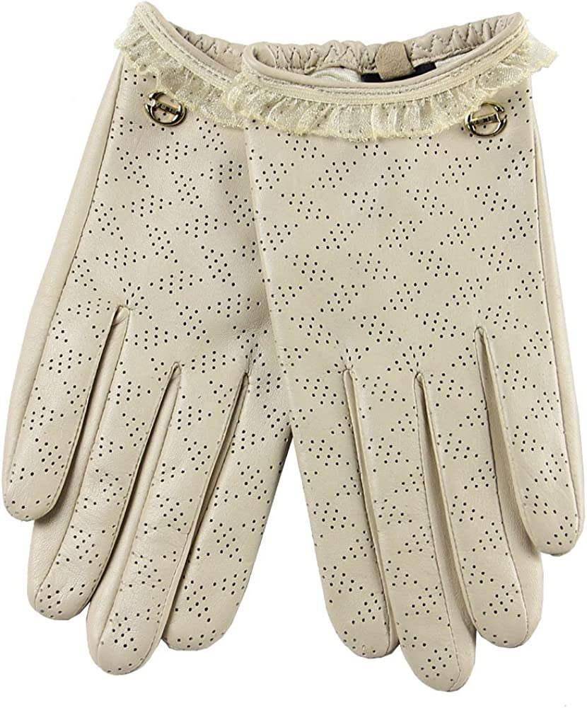 ELMA Leather Gloves for Women Perforated Nappa Leather Driving Thin Short Wrist Length