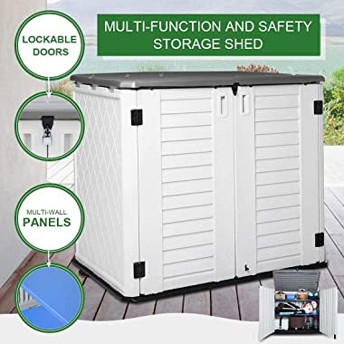 Horizontal Outdoor Garden Storage Shed for Backyards and Patios, Plastic Storage Box Waterproof, Small Shed 26 Cubic Feet Cap