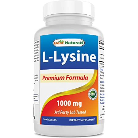 Best Naturals L-Lysine 1000mg 180 Tablets - Double Strength Lysine for stronger immune health & cold sores