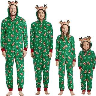Pijamas de Navidad Familia Conjunto Reno Jumpsuit Overall Ropa de Dormir con Capucha Casual Invierno Una Pieza Trajes para Navidad para Mujer Hombre Niños y Bebé