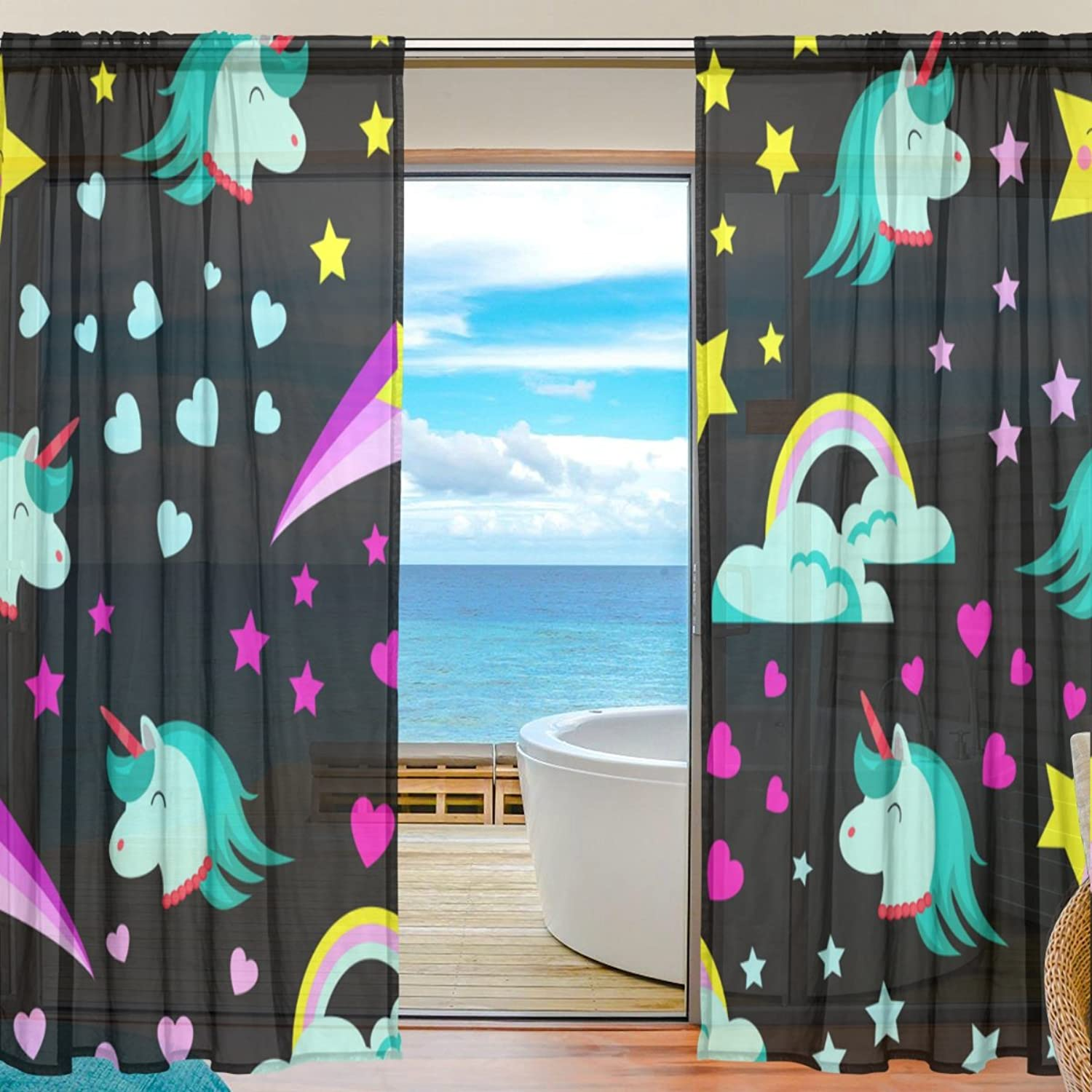 Vantaso Sheer Curtains 78 inch Green Unicorn with Twinkle Stars for Kids Girls Bedroom Living Room Window Decorative 2 Panels