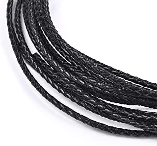 3mm Round Leather Cord Folded Bolo PU Braided Leather Cord Bolo Tie for Necklace Bracelet Jewelry Making Black 5 Meters