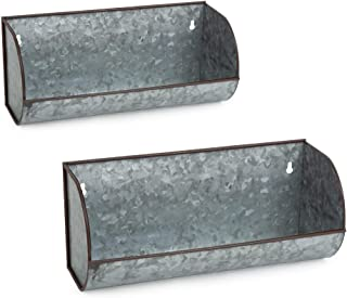 DII Z02276 Galvanized Metal Farmhouse Rustic Industrial Decorative Wall Shelves, Large..