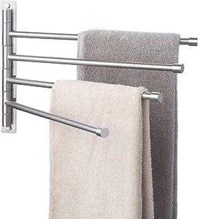 KES Swivel Towel Bar SUS 304 Stainless Steel 4-Arm Bathroom Swing Hanger Towel Rack Holder Storage Organizer Space Saving ...