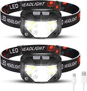 Foxdott Rechargeable Headlamp 2 Pack, LED Headlamp, Head Lamps for Adults, Flashlight with White Red Lights, USB Rechargea...