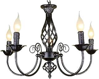 Lámpara de cocina con luz colgante negra, lámpara de araña grande, luces de techo modernas