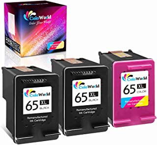 ColoWorld Remanufactured Ink Cartridge Replacement for HP 65 65XL (2 Black,1 Color) to Use with HP Envy 5055 5000 5052 501...