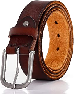 Men's Belt 100% Full Grain Leather With Classic Prong Buckle For Dress Jeans Casual