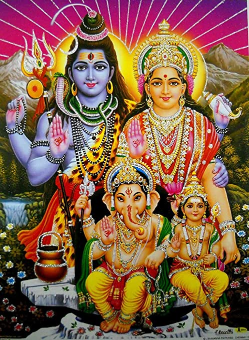 Amazon Com Lord Shiva Family Hindu God Poster With Glitter Reprint On Paper Unframed Size 12 X16 Inches Posters Prints