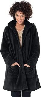 Women's Plus Size Hooded A-Line Fleece Coat