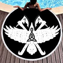 MINNOMO - Toalla de Playa Redonda con borlas, Color Negro, diseño ...