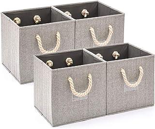 EZOWare Boîte de Rangement Pliable en Tissu de Coton en Bambou avec Poignées et Porte-étiquette, Panier de Rangement, Cube...