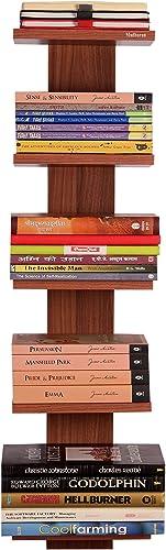 Madhuran Baton Decorative Wall Mounted Book Shelf Bookcase Space Saving Books Holder Stand Set Of 5 Classic Walnut Wooden Shelves Rack Display Home D Cor