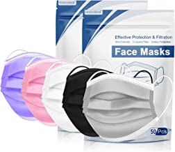 Disposable Face Mask, Colored Disposable Face Mask of 100 Pack Disposable Masks, Masks for Women, Men, Adult Use(Colorful02)