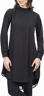 Womens Sukoon Long Sleeve Modest Chiffon Tunic Top Kurti Midi Tunic Dress - Black