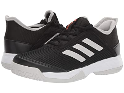adidas Kids Adizero Club Tennis (Little Kid/Big Kid) (Black/White/Grey) Kids Shoes