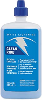 White Lightning Clean Ride The Original Self-Cleaning Wax Bicycle Chain Lubricant, 8-Ounce Drip Squeeze Bottle