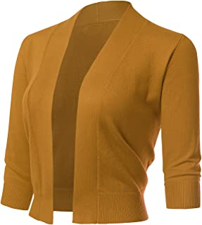 baa6a514a3 ARC Studio Women s Classic 3 4 Sleeve Open Front Cropped Cardigans ...