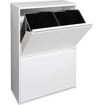 MAXCRAFT Cubo de Basura Cubo de Reciclaje Basurero Acero Inoxidable Cocina 3 Contenedores con Tapas Capacidad para 24 litros (3 x 8 litros): Amazon.es: Hogar