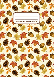 Journal Notebook: Journal, Notebook, Or Diary | Autumn Leaves Acorns Pinecones Pattern Cover Design | 120 Blank Lined Pages | 7