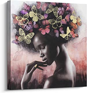 Pi Art Canvas Wall Art Abstract Sexy Beauty with Butterflies Gold and Red Wall Decor, African American Black Art Modern Wall Painting for Home Decor Stretched Ready to Hang (24x24 inch, C)