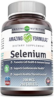 Amazing Nutrition Selenium * 200mcg Natural Selenium Yeast * 240 Tablets Per Bottle  * Promotes Cell Health, Immune Functi...