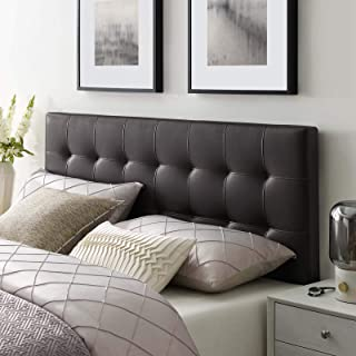 Modway Lily Tufted Faux Leather Upholstered King Headboard in Brown