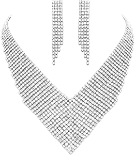 """Rosemarie Collections Women's Dramatic Crystal Rhinestone Bridal V-Necklace and Hypoallergenic Earrings Set, 14""""-17"""" with ..."""