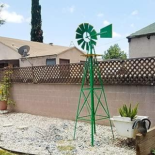FDW Windmill 8FT Yard Garden Metal Ornamental Wind Mill Weather Resistant Decoration for Backyard Or Lawn,Green