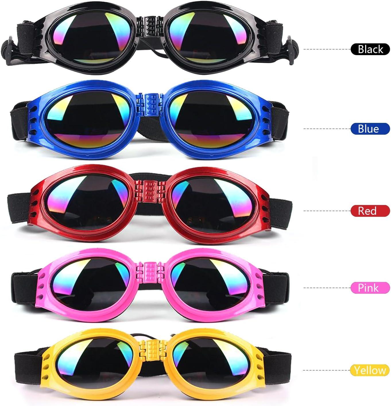 TM SlimArmor Fashion Pet Dog Puppy Goggles Sunglasses Eye Wear Protection Folding Goggles 5 Colors Black