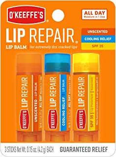 O`Keeffe`s Lip Repair Lip Balm for Dry, Cracked Lips, Stick (Pack of 3: 1 Cooling + 1 Unscented + 1 SPF)