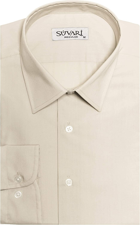 SUVARI Mens Dress Shirts Long Sleeve Regular Fit Business Dress Shirt for Men
