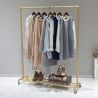 FURVOKIA Portant à vêtements industriel pour tuyaux - Style vintage - Style steampunk - Doré