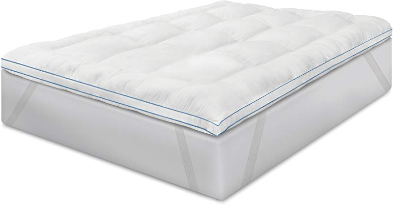 BioPEDIC Memory Plus Deluxe 3 Inch Memory Foam And Fiber Bed Topper With Anchorbands Queen White
