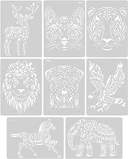 Chstarina 8Pcs Pochoir Animaux,Pochoir Peinture Modèle de Peinture Créative Pochoir Enfant Modèle de Peinture Animale pour...