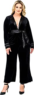 Plus Size Women Black Velvet Crop Split Hem Wide Leg Pants